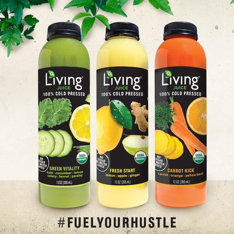Organic, cold-pressed Living Juice fruit and vegetable juices by O2 Living