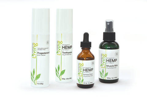 Living Hemp Extract Oil and Progesterone Products by O2 Living