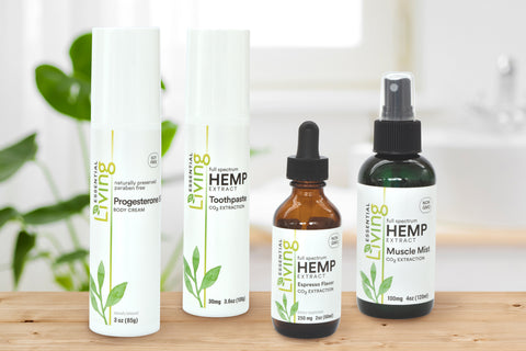 O2 Living health and wellness hemp extract CBD and hormone products available on Amazon