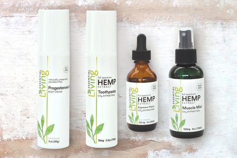 o2 Living Health and Wellness Hemp extract products featuring high quality hemp extract (CBD)