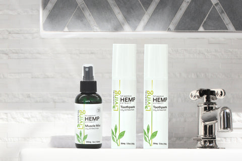 O2 Living Health and Wellness hemp extract muscle mist and hemp extract toothpastes provide anti-inflammatory benefits for sore muscles and toothaches