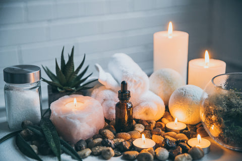 Organic essential oils in relaxing environment for stress relief