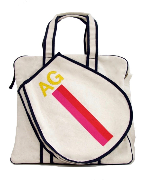 TENNIS BAG - PINK/RED STRIPE WITH YELLOW ALLIGATOR MONOGRAM