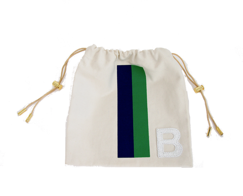 DRAWSTRING POUCH -NAVY/GREEN STRIPE WITH WHITE ALLIGATOR MONOGRAM