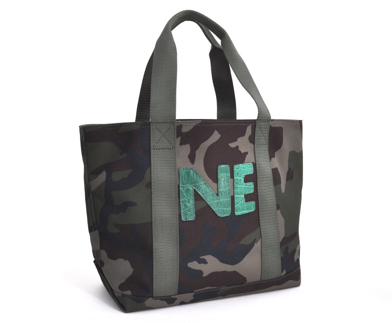 MINI HUNTING TOTE WITH TWO ALLIGATOR LETTERS - ASSORTED COLORS