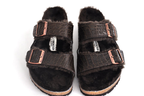 BIRKENSTOCKS, SHEARLING WITH ALLIGATOR