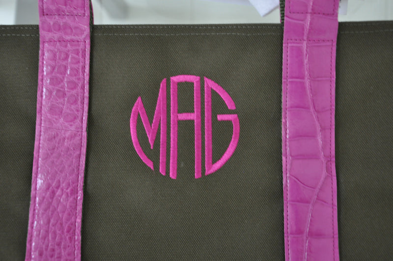 MINI HUNTING TOTE WITH ALLIGATOR HANDLES & THREADED MONOGRAM - ASSORTED COLORS
