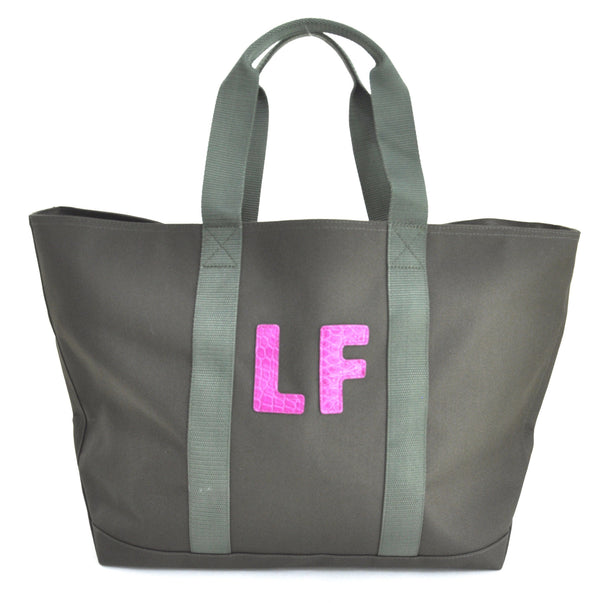 HUNTING TOTE WITH TWO ALLIGATOR LETTERS - ASSORTED COLORS
