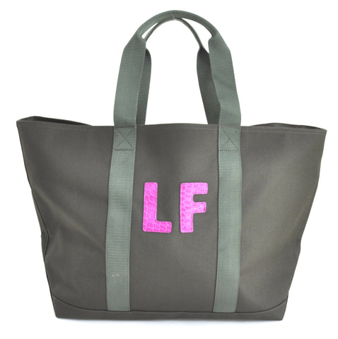 TOTE BAG WITH TWO LETTER ALLIGATOR MONOGRAM