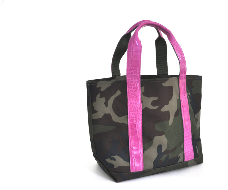 MINI HUNTING TOTE WITH ALLIGATOR HANDLES - ASSORTED COLORS