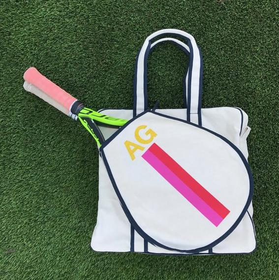 TENNIS BAG - PINK/RED STRIPE WITH YELLOW ALLIGATOR MONOGRAM - IN STOCK NOW