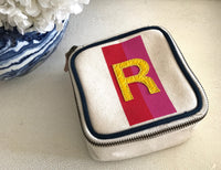 TRAVEL BOX - RED/PINK STRIPE WITH YELLOW ALLIGATOR MONOGRAM