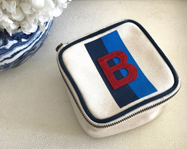 TRAVEL BOX - NAVY/BLUE STRIPE WITH RED ALLIGATOR MONOGRAM