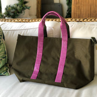 HUNTING TOTE - MAGENTA MATTE ALLIGATOR HANDLES ON OLIVE BAG - IN STOCK NOW