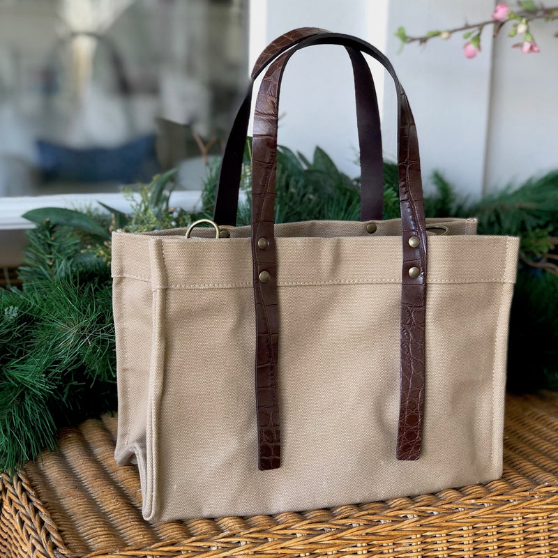 PARKER THATCH BEA BAG IN KHAKI W/ BROWN MATTE ALLIGATOR HANDLES - IN STOCK NOW