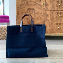 Navy Utility Tote with Alligator Handles