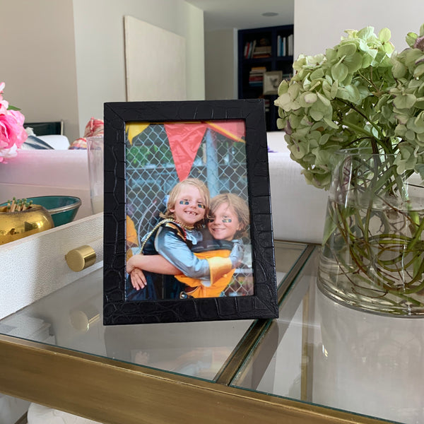 5 x 7 PICTURE FRAME Black Matte Alligator - IN STOCK NOW