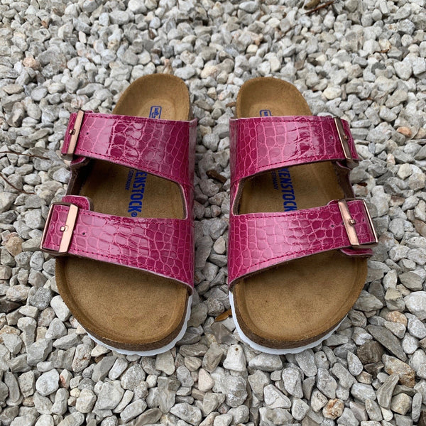 ARIZONA BIRKENSTOCKS - PINK GLAZE ALLIGATOR - IN STOCK NOW size 37/ US 6-6.5