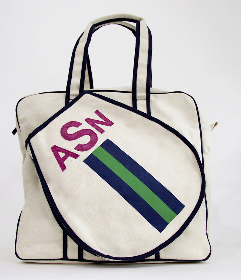TENNIS BAG - NAVY/GREEN/NAVY RACING STRIPE WITH MAGENTA ALLIGATOR MONOGRAM