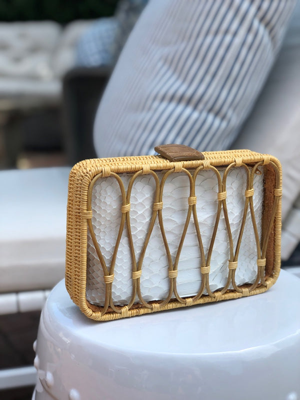 RATTAN CLUTCH WITH POUCH - IN STOCK NOW