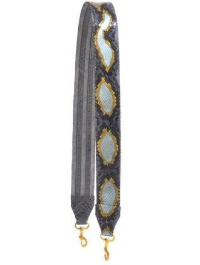 REVERSIBLE GUITAR STRAP WITH ALLIGATOR STRIPES W/PYTHON - ASSORTED COLORS