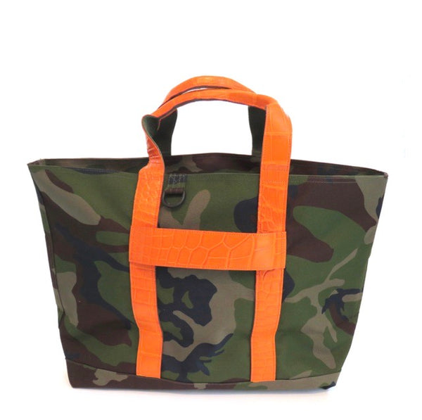 HUNTING TOTE WITH ALLIGATOR HANDLES & ALLIGATOR LUGGAGE STRAP - CONTRACT TANNING