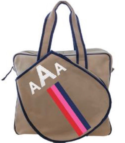 TENNIS BAG IN KHAKI - RED/PINK/NAVY RACING STRIPE WITH ALLIGATOR MONOGRAM