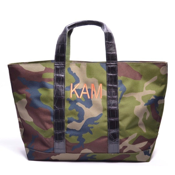 HUNTING TOTE WITH ALLIGATOR HANDLES - ASSORTED COLORS
