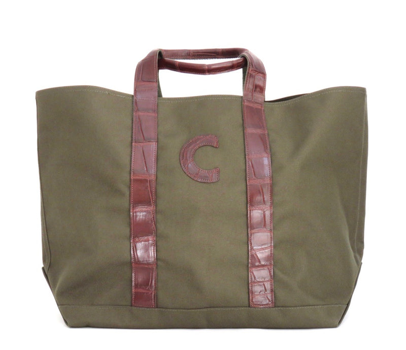 HUNTING TOTE WITH ALLIGATOR HANDLES & ONE ALLIGATOR LETTER - ASSORTED COLORS