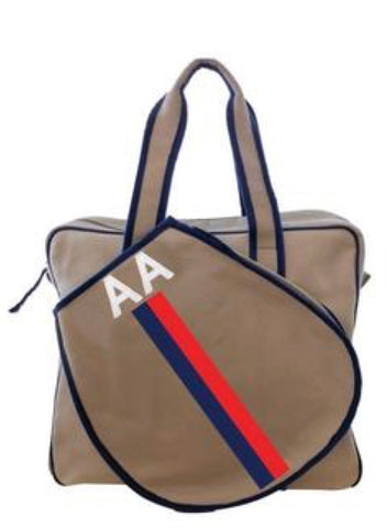 TENNIS BAG IN KHAKI - NAVY/RED STRIPE WITH ALLIGATOR MONOGRAM