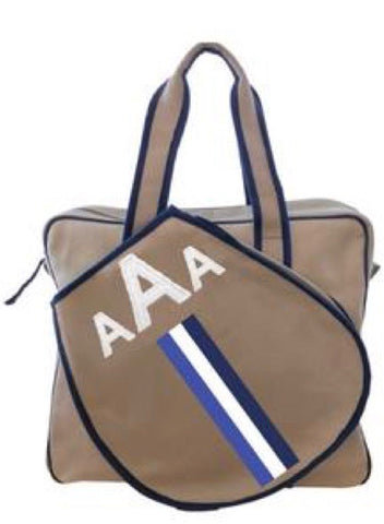 TENNIS BAG IN KHAKI - BLUE/WHITE/NAVY RACING STRIPE WITH ALLIGATOR MONOGRAM