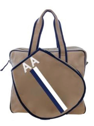 *TENNIS BAG IN KHAKI - NAVY/WHITE STRIPE WITH ALLIGATOR MONOGRAM