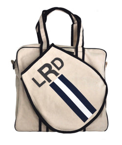 TENNIS BAG - BLUE/WHITE/NAVY RACING STRIPE WITH GREY ALLIGATOR MONOGRAM