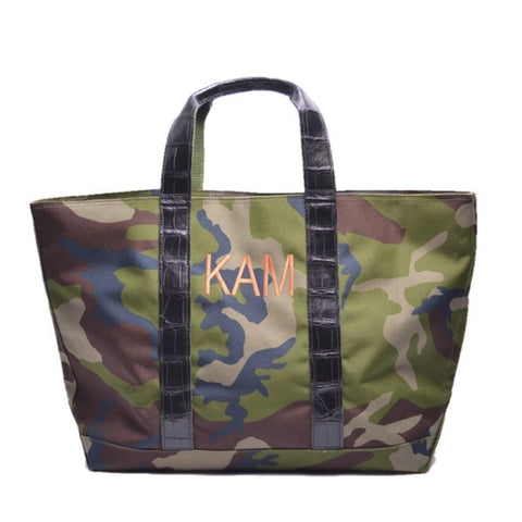 HUNTING TOTE W/THREADED MONOGRAM & LUGGAGE STRAP