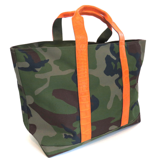 HUNTING TOTE WITH ALLIGATOR HANDLES & ALLIGATOR LUGGAGE STRAP - ASSORTED COLORS