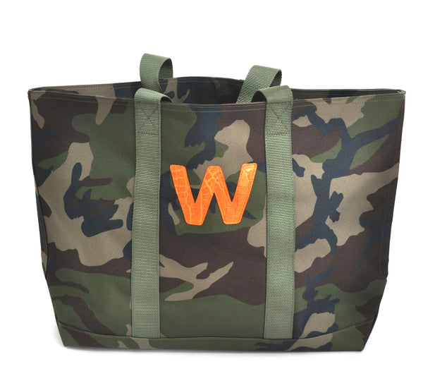 HUNTING TOTE WITH ONE ALLIGATOR LETTER - ASSORTED COLORS