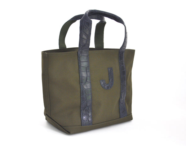 MINI HUNTING TOTE WITH ALLIGATOR HANDLES & ONE ALLIGATOR LETTER - ASSORTED COLORS