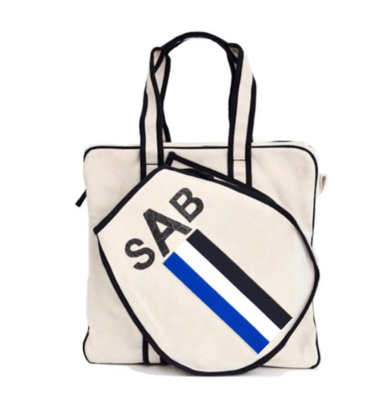 TENNIS BAG - BLUE/WHITE/NAVY RACING STRIPE WITH GREY ALLIGATOR MONOGRAM - IN STOCK NOW