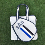 TENNIS BAG - BLUE/WHITE/NAVY RACING STRIPE IN STOCK NOW