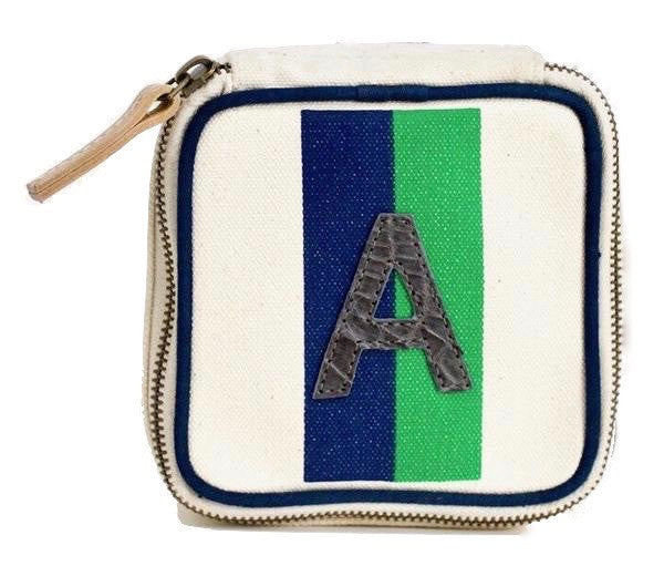TRAVEL BOX - NAVY/GREEN STRIPE WITH GREY ALLIGATOR MONOGRAM