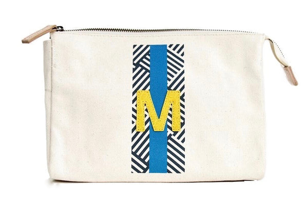 ACCESSORIES TRAVEL BAG, LARGE - NAVY/FRENCH BLUE PATTERN WITH YELLOW ALLIGATOR MONOGRAM