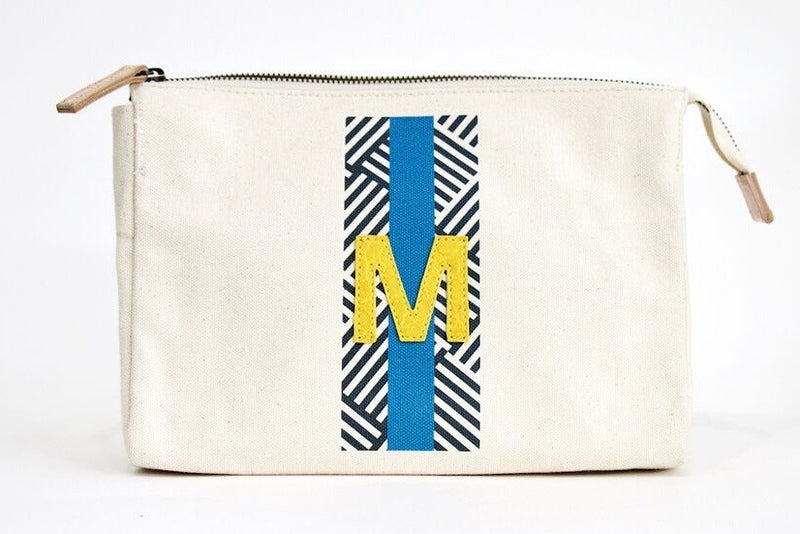 LARGE ACCESSORIES TRAVEL BAG - NAVY/FRENCH BLUE PATTERN WITH YELLOW ALLIGATOR MONOGRAM