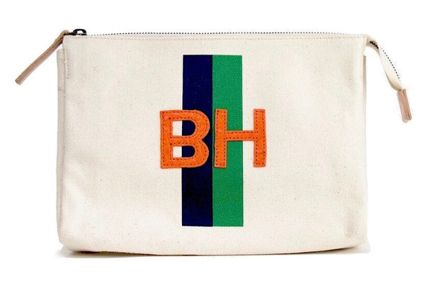 ACCESSORIES TRAVEL BAG, LARGE - NAVY/GREEN STRIPE WITH ORANGE ALLIGATOR MONOGRAM