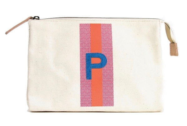 LARGE ACCESSORIES TRAVEL BAG - PINK/ORANGE PATTERN WITH TURQUOISE ALLIGATOR MONOGRAM