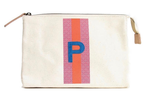 ACCESSORIES TRAVEL BAG, LARGE - PINK/ORANGE PATTERN WITH TURQUOISE ALLIGATOR MONOGRAM