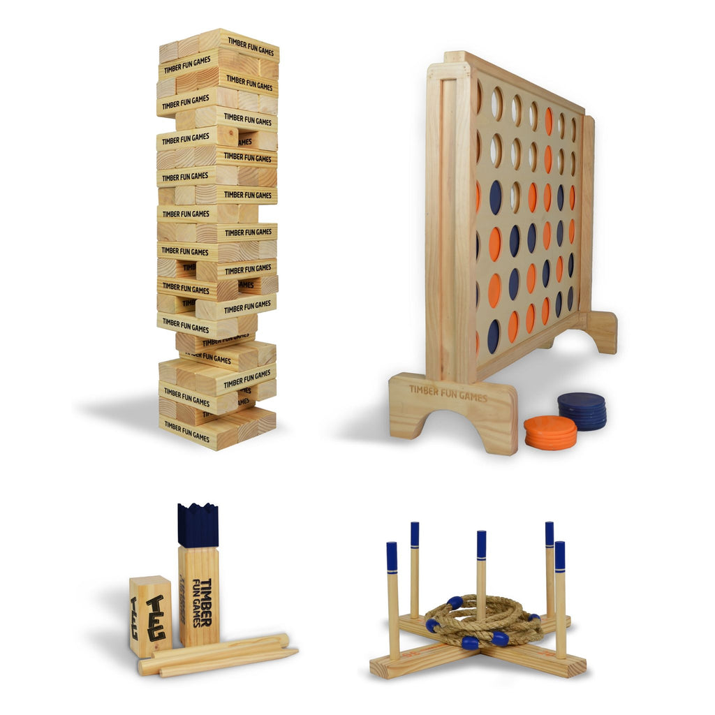 All Stars Package - Giant Tumble Tower, Giant 4 in a Row, Kubb, Giant Ring Toss Quoits
