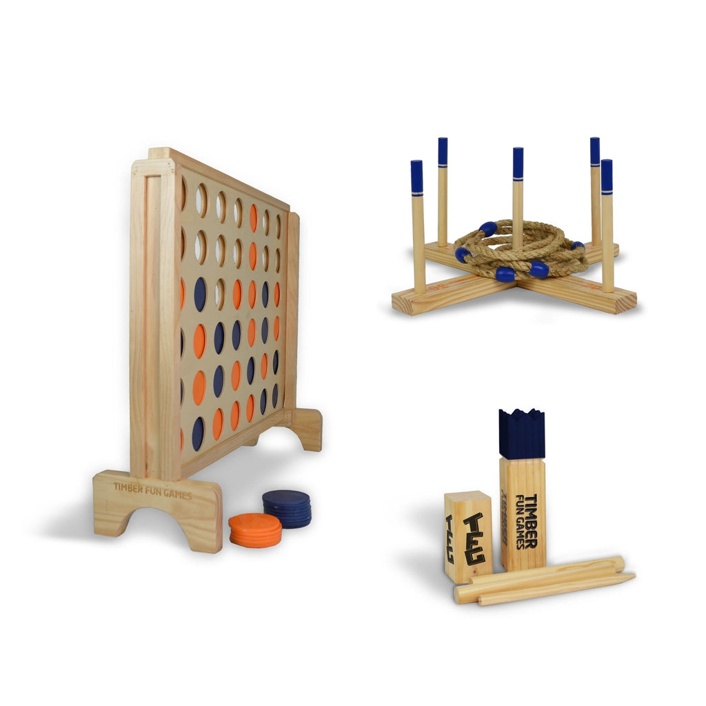 Entertainers Package 2 - Giant 4 in a Row, Kubb & Giant Ring Toss Quoits