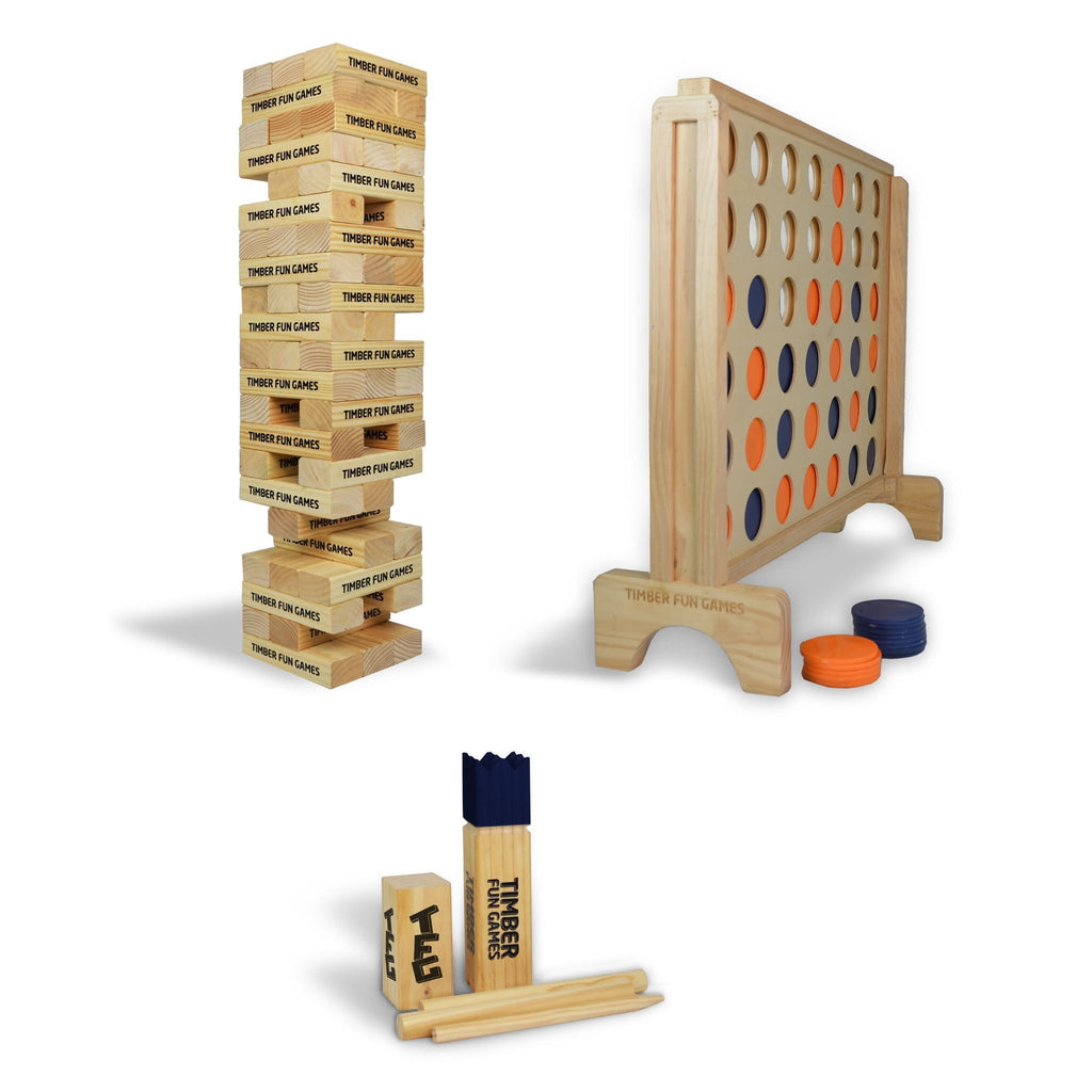 Giant Jenga Tumble Tower, Giant Connect 4 4 In A row, Kubb Viking Chess Package