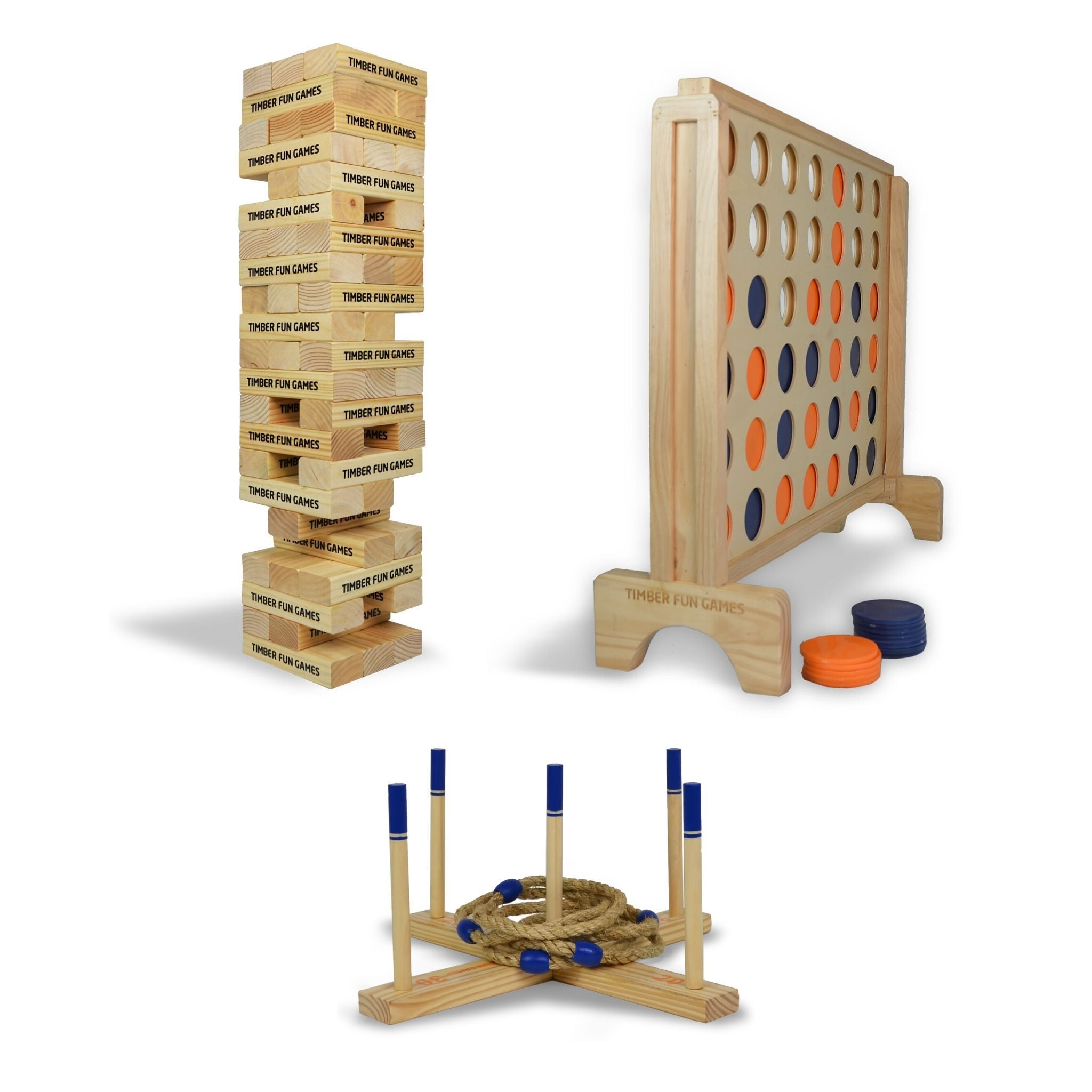 Giant Jenga Tumble Tower, Giant Connect 4 4 In A row, Giant Ring Toss Quoits Package