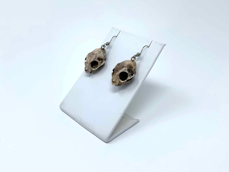 Cat Skull Earrings Macabre Jewelry